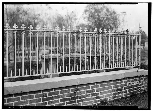 6.  Historic American Buildings Survey E. W. Russell, Photographer, April 7, 1936 IRON FENCE WITH LEAD ORNAMENTAL PICKET CAPS JOHNSON-GARBO LOT, MAGNOLIA CEMETERY - Magnolia Cemetery (Ironwork), Virginia Street, Mobile, Mobile County, AL
