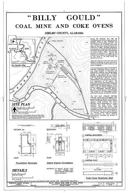 Site Plan, Foundation Remnant, Steam Engine Foundation, and details - Billy Gould Coal Mine, Confluence of Cahaba River & Buck Creek, Helena, Shelby County, AL