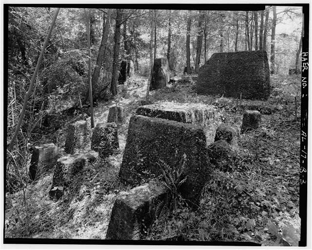 CRUSHER FOUNDATION, EXTERIOR NORTHWEST. - Brookside Coal Mine, Washer & Crusher (Foundations), Mount Olive Road, North of Five Mile Creek Bridge, Brookside, Jefferson County, AL