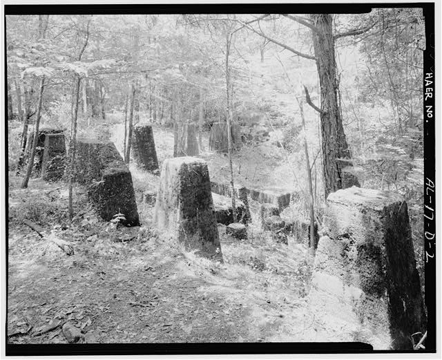 WASHED COAL STORAGE, EXTERIOR SOUTHEAST. - Brookside Coal Mine, Washed Coal Storage Bins (Foundation), Mount Olive Road, North of Five Mile Creek Bridge, Brookside, Jefferson County, AL