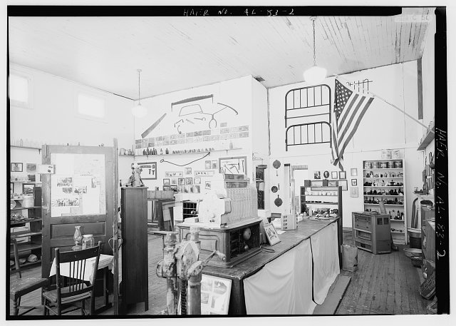 INTERIOR VIEW SHOWING HENRY EMFINGER'S MINING ARTIFACT COLLECTIONS. - Aldrich Commissary, 137 Shelby County Road 203, Aldrich, Shelby County, AL