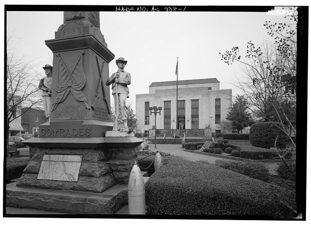 1.  EXTERIOR VIEW, LOOKING NORTHWEST ACROSS COURTHOUSE SQUARE TOWARD THE WALKER COUNTY COURTHOUSE - Confederate Veterans' Memorial, Courthouse Square, Jasper, Walker County, AL