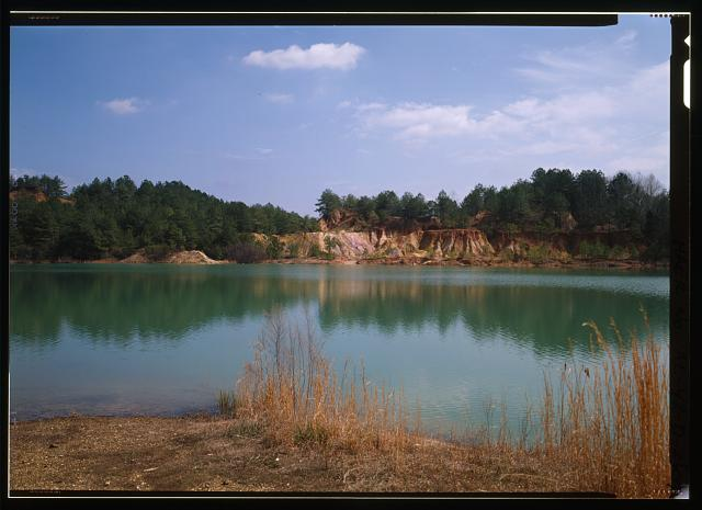 EXTERIOR VIEW, LOOKING NORTHWEST OF LAKE, A FORMER BROWN ORE MINING PIT - Shelby Iron Works, Chain Gang (Blue) Hole Lake, County Road 42, Shelby, Shelby County, AL