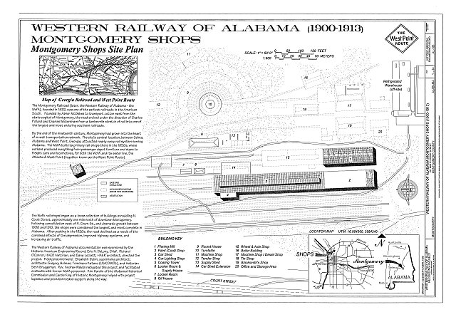 Cover and Site Plan - Western Railway of Alabama Montgomery Rail Shops, 701 North Perry Street, Montgomery, Montgomery County, AL