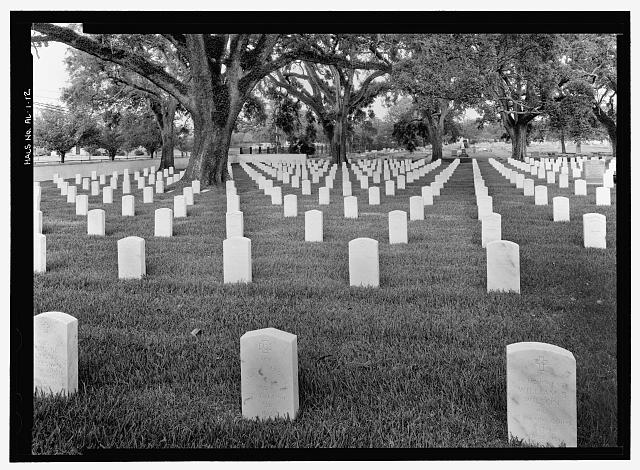 OVERALL VIEW OF CEMETERY SECTION 1 (NOTE HEADSTONE FOR CONFEDERATE SOLDIER AT CENTER FOREGROUND).  VIEW TO NORTH. - Mobile National Cemetery, 1202 Virginia Street, Mobile, Mobile County, AL