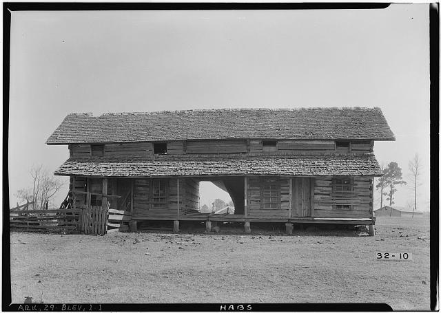 1.  Historic American Buildings Survey. Prather Reynolds Photographer Feb 13 1934. NORTH ELEVATION - FRONT - Log Cabin Tavern, State Highway, Blevins, Hempstead County, AR
