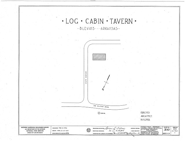HABS ARK,29-BLEV,1- (sheet 0 of 3) - Log Cabin Tavern, State Highway, Blevins, Hempstead County, AR