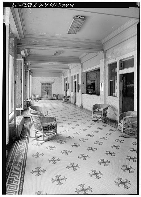 17.  ENTRANCE FOYER, FIRST FLOOR, FROM SOUTH - Bathhouse Row, Fordyce Bathhouse, Central Avenue, Hot Springs, Garland County, AR
