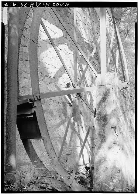 7.  CLOSE-UP DETAIL OF WATER WHEEL, BUCKET, AND STONE SUPPORT FOR SHAFT - Ricks Estate, Electric Power Generating Mill (Ruin), Stone Bridge Road, Hot Springs, Garland County, AR