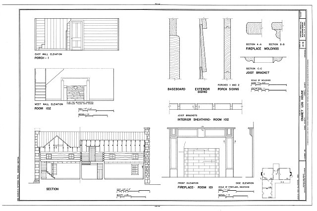HABS ARK,8-OSA.V,1- (sheet 5 of 7) - Chaney Log House, Highway 68, North side, Osage, Carroll County, AR