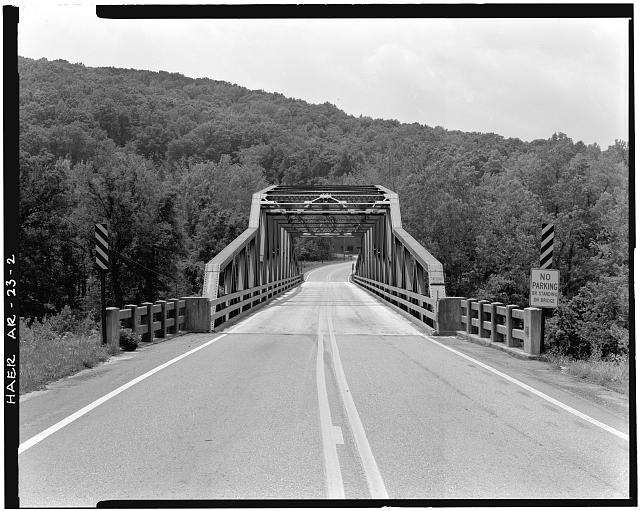 2.  GENERAL VIEW OF BRIDGE, LOOKING NORTHEAST - Buffalo River Bridge, Spanning Buffalo River at State Highway 7, Pruitt, Newton County, AR