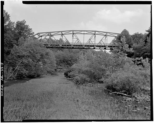 5.  GENERAL VIEW OF BRIDGE, LOOKING NORTHWEST - Buffalo River Bridge, Spanning Buffalo River at State Highway 7, Pruitt, Newton County, AR