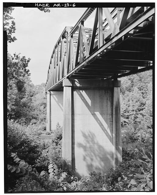 6.  VIEW OF BRIDGE CONCRETE PIER. LOOKING SOUTHWEST - Buffalo River Bridge, Spanning Buffalo River at State Highway 7, Pruitt, Newton County, AR