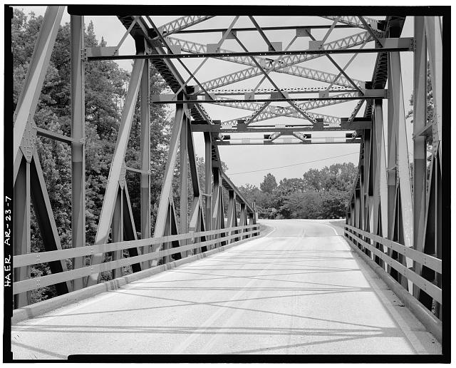 7.  VIEW FROM BRIDGE DECK, LOOKING SOUTHWEST - Buffalo River Bridge, Spanning Buffalo River at State Highway 7, Pruitt, Newton County, AR