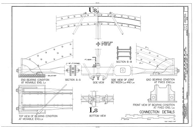 U8 & L8 - End Bearing Condition, Top view of Bearing Condition and Movable End, Front View of Bearing Condition at Fixed End - Springfield-Des Arc Bridge, Spanning North Branch of Cadron Creek at Old Springfield-Des Arc Road (County Road 222), Springfield, Conway County, AR