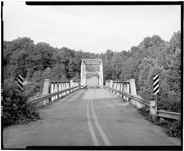 1.  GENERAL VIEW OF PENNSYLVANIA THROUGH TRUSS BRIDGE, LOOKING NORTHEAST FROM ROADBED, WITH PONY TRUSS APPROACH IN FOREGROUND - Lee Creek Bridge, Spanning Lee Creek at State Highway No. 220, Chester, Crawford County, AR