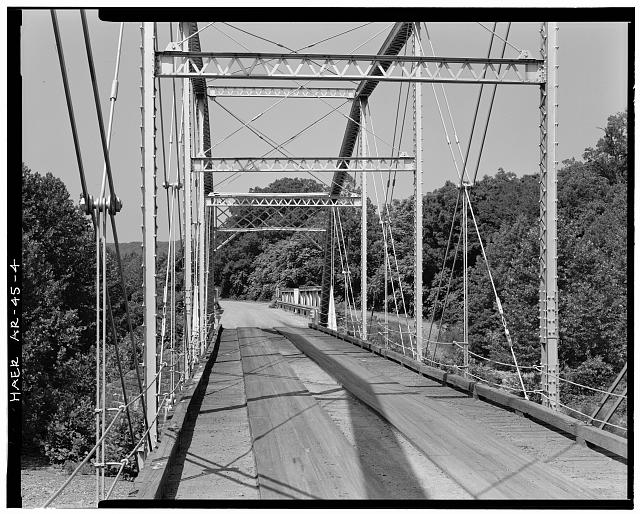 4.  VIEW OF BRIDGE DECK, LOOKING SOUTHWEST - Lee Creek Bridge, Spanning Lee Creek at State Highway No. 220, Chester, Crawford County, AR