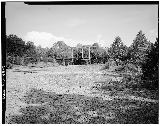 7.  GENERAL VIEW OF BRIDGE, LOOKING NORTHEAST - Lee Creek Bridge, Spanning Lee Creek at State Highway No. 220, Chester, Crawford County, AR