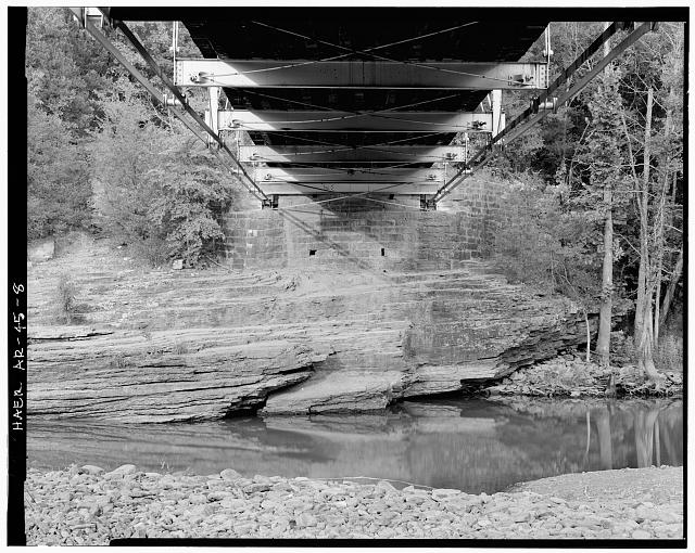 8.  VIEW OF UNDERSIDE OF BRIDGE AND NORTHEAST MASONRY PIER, LOOKING NORTHEAST - Lee Creek Bridge, Spanning Lee Creek at State Highway No. 220, Chester, Crawford County, AR