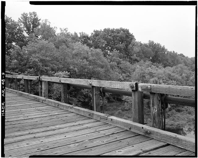 9.  DETAIL VIEW OF WOODEN SUPPORT SYSTEM FROM DECK, LOOKING SOUTH - Winkley Bridge, Spanning Little Red River adjacent to State Highway No. 110, Heber Springs, Cleburne County, AR