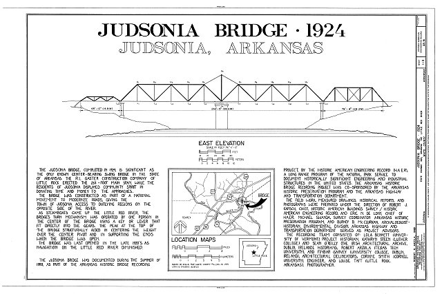 East Elevation - Judsonia Bridge, Spanning LIttle White River at County Road 66, Judsonia, White County, AR