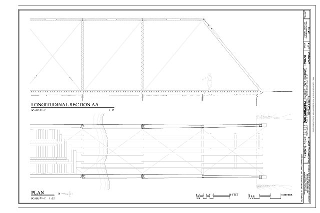 Longitudinal Section and Plan - Fryer's Ford Bridge, Spanning East Fork of Point Remove Creek at Fryer Bridge Road (CR 67), Solgohachia, Conway County, AR