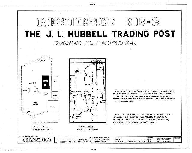HABS ARIZ,1-GANA,1B- (sheet 1 of 8) - J. L. Hubbell Trading Post, House, State Route 3 (Navajo Indian Reservation), Ganado, Apache County, AZ