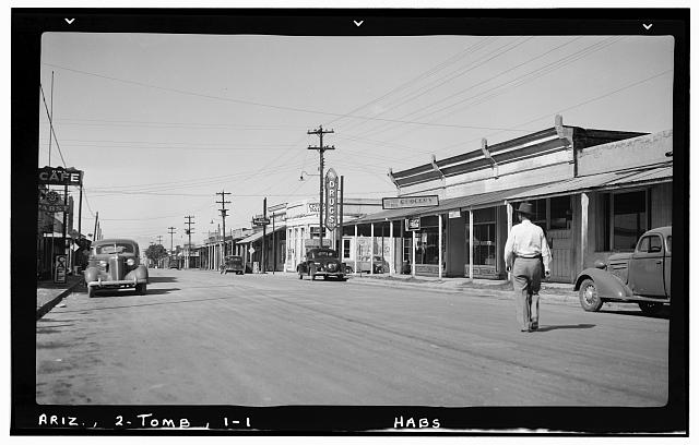 1.  Historic American Buildings Survey Frederick D. Nichols, Photographer November 1937 VIEW LOOKING WEST ON ALIEN STREET SHOWING ADJACENT BUILDINGS - Crystal Palace Saloon, Allen & Fifth Streets, Tombstone, Cochise County, AZ