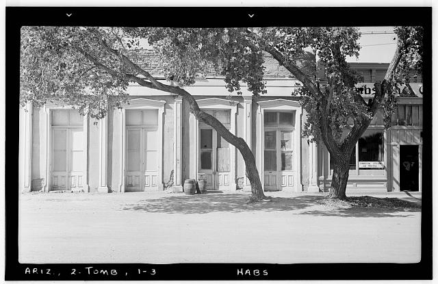 3.  Historic American Buildings Survey Frederick D. Nichols, Photographer November 1937 EAST ELEVATION - Crystal Palace Saloon, Allen & Fifth Streets, Tombstone, Cochise County, AZ