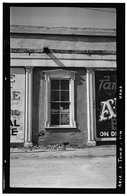 4.  Historic American Buildings Survey Frederick D. Nichols, Photographer November 1937 DETAIL OF WINDOW AND PILASTER - Crystal Palace Saloon, Allen & Fifth Streets, Tombstone, Cochise County, AZ