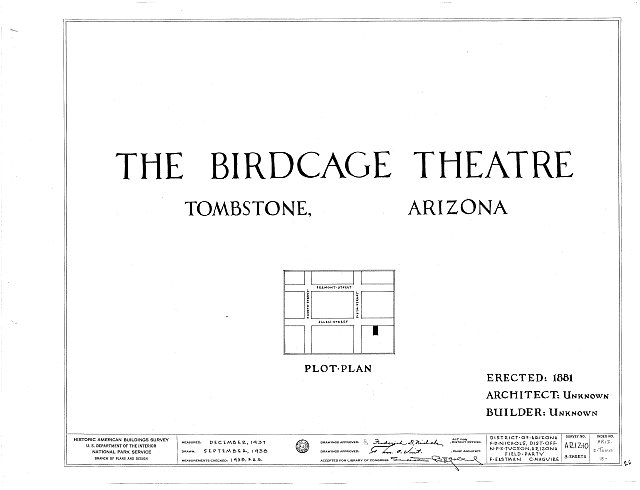HABS ARIZ,2-TOMB,18- (sheet 0 of 3) - Bird Cage Theatre, Allen Street, near Sixth Street, Tombstone, Cochise County, AZ