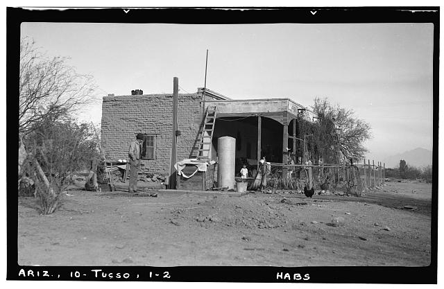 2.  Historic American Buildings Survey Frederick D. Nichols, Photographer January 1938 VIEW OF SOUTH END - Leopoldo Carrillo House, 1005 Mission Avenue, Tucson, Pima County, AZ
