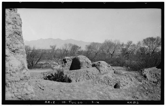 4.  Historic American Buildings Survey John P. O'Neill, Photographer March 3, 1937 LOOKING NORTHEAST FROM SOUTHWEST CORNER OF PRINCIPAL STRUCTURE (Note Treasure Hunters' Holes) - Mission San Cosme del Tucson, Menlo Park, Tucson, Pima County, AZ