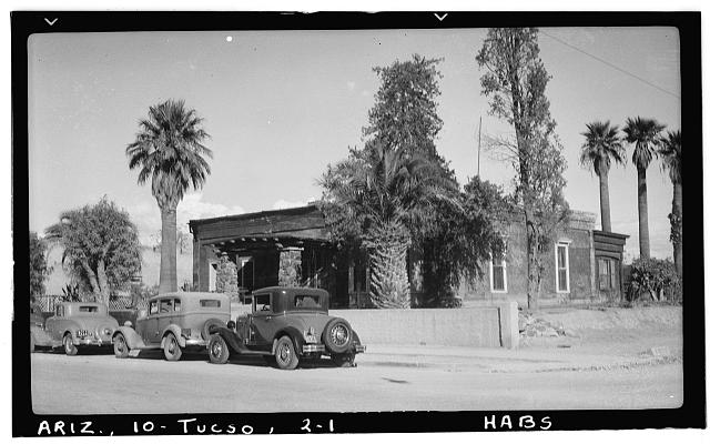 1.  Historic American Buildings Survey Frederick A. Eastman, Photographer January 1938 GENERAL VIEW FROM STREET - SOUTHWEST - Ballantyne Robinson House, Military Plaza (141 South Fifth Avenue), Tucson, Pima County, AZ