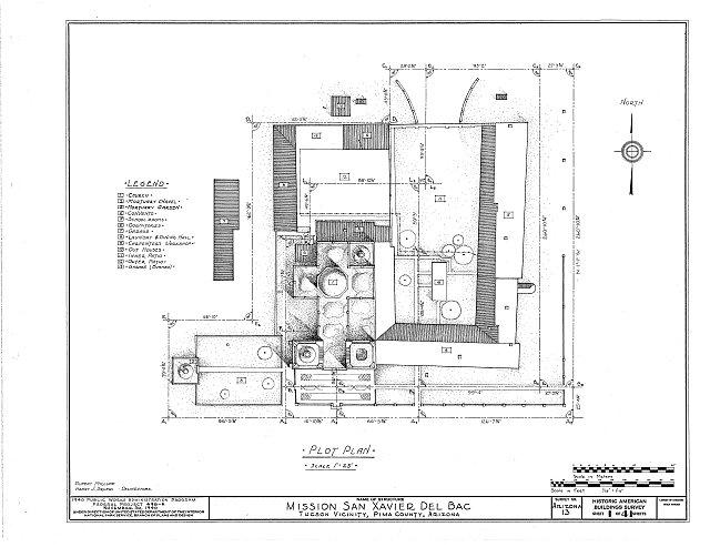 HABS ARIZ,10-TUCSO.V,3- (sheet 1 of 41) - San Xavier del Bac Mission, Mission Road, Tucson, Pima County, AZ