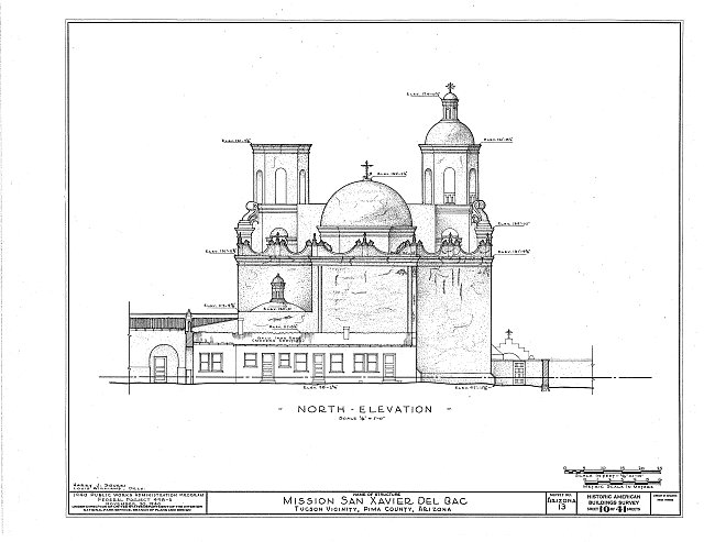 HABS ARIZ,10-TUCSO.V,3- (sheet 10 of 41) - San Xavier del Bac Mission, Mission Road, Tucson, Pima County, AZ