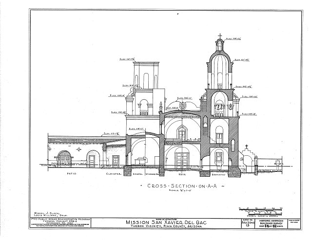 HABS ARIZ,10-TUCSO.V,3- (sheet 16 of 41) - San Xavier del Bac Mission, Mission Road, Tucson, Pima County, AZ