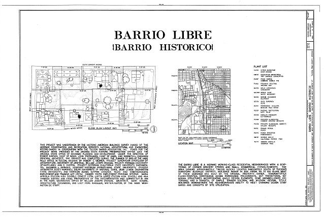 HABS ARIZ,10-TUCSO,30- (sheet 1 of 28) - Barrio Libre, West Kennedy & West Seventeenth Streets, Meyer & Convent Avenues, Tucson, Pima County, AZ