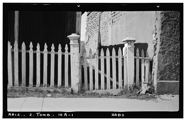 1.  Historic American Buildings Survey Frederick D. Nichols, Photographer November 1937 DETAIL AT GATE - South Third Street (Fence, Fenceposts & Gate), Tombstone, Cochise County, AZ