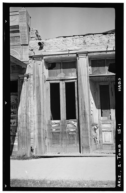 1.  Historic American Buildings Survey Frederick D. Nichols, Photographer November 1937 DETAIL AT JUNCTURE OF TWO FRONTS - Shop No.1 (Door), Allen Street, Tombstone, Cochise County, AZ