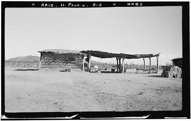 2.  Historic American Buildings Survey Frederick A. Eastman, Photographer January 1938 SIDE VIEW - Indian Wattle-and-Daub Farmhouse (with Ramada), Gila River Vicinity, Poston, La Paz County, AZ