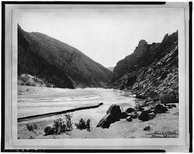 1.  COOLIDGE DAM SITE, LOOKING SOUTH (DOWNSTREAM), c. 1927 - Coolidge Dam, Gila River, Peridot, Gila County, AZ