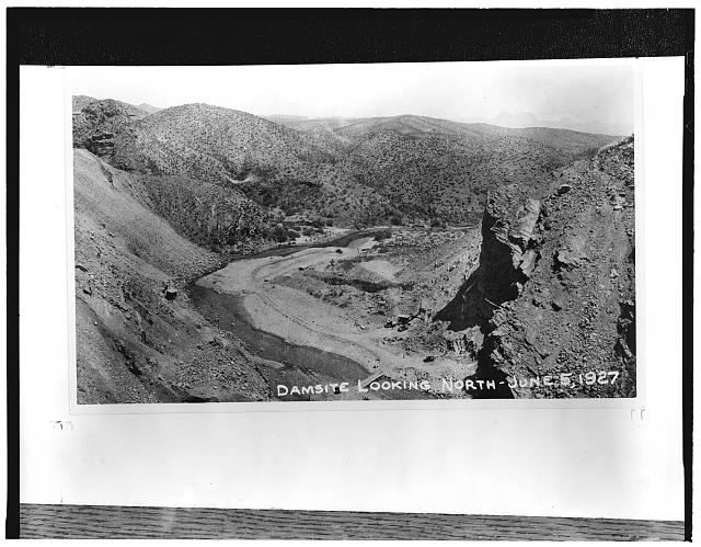 3.  COOLIDGE DAM SITE, LOOKING NORTH (UPSTREAM), June 5, 1927 - Coolidge Dam, Gila River, Peridot, Gila County, AZ