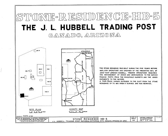 HABS ARIZ,1-GANA,1E- (sheet 1 of 4) - Hubbell Trading Post, Bunkhouse, Ganado, Apache County, AZ