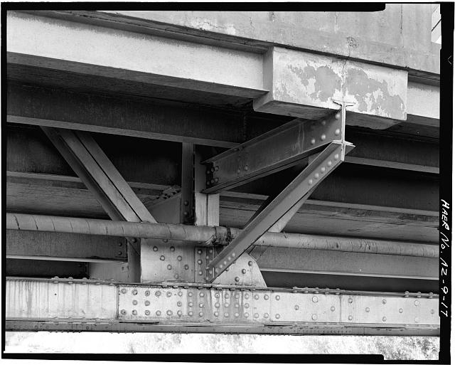 17.  BOTTOM CHORD / DIAGONAL / VERTICAL CONNECTION DETAIL, SHOWING CANTILEVERED SIDEWALK. VIEW TO WEST. - Holbrook Bridge, Spanning Little Colorado River at AZ 77, Holbrook, Navajo County, AZ