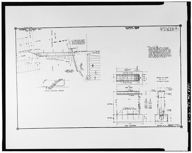 19.  Photocopy of construction drawing dated 26 April 1929 (provided by Arizona Department of Transportation). SITE PLAN AND SUBSTRUCTURAL DETAILS. - Holbrook Bridge, Spanning Little Colorado River at AZ 77, Holbrook, Navajo County, AZ
