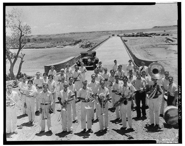 20.  Photocopy of photograph (Frashers Fotos, Pomona California, 3 July 1932, original print in possession of National Park Service, Petrified Forest National Park), 'ST. JOHN[S] HIGH SCHOOL BAND, DEDICATION RIO PUERCO BRIDGE, PETRIFIED FOREST, ARIZONA - JULY 3, 1932.' - Rio Puerco Bridge, Mainline Road, spanning Rio Puerco, Holbrook, Navajo County, AZ