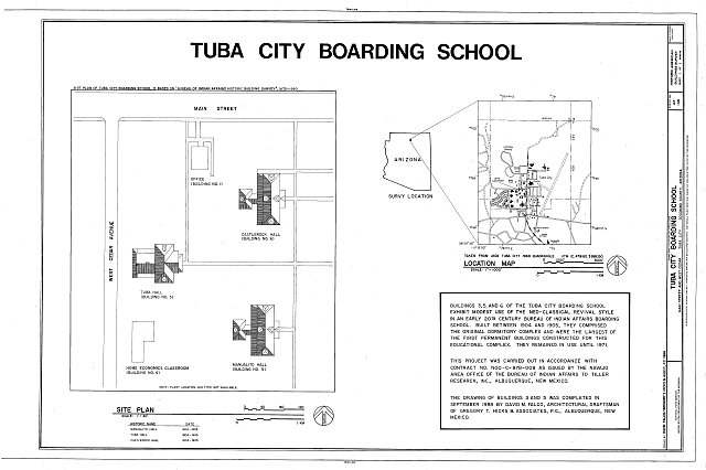 Title page and site plan - Tuba City Boarding School, Navajo Reservation, Main Street & West Cedar Avenue, Tuba City, Coconino County, AZ