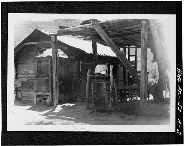 2.  PERSPECTIVE VIEW OF NORTH (REAR) AND WEST SIDE - Bates Well, Cowhand House, Growler Wash, Ajo, Pima County, AZ