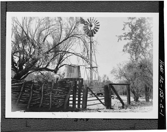 1.  GENERAL VIEW SHOWING STACKED FENCE, WATER TOWER AND WIND MILL - Bates Well, Corral, Growler Wash, Ajo, Pima County, AZ